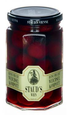 Staud's Wien - Reine Frucht - Weichsel Kompott - Sauerkirschen in Sirup - Ganze Früchte mit Stein 314ml