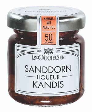 Brauner Kandis mit Sanddorn-Liquer.