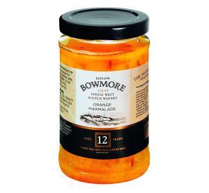Orangen Marmelade mit grob geschnittener Schale, verfeinert mit 12 Jahre altem Bowmore Islay Single Malt Scotch Whisky.