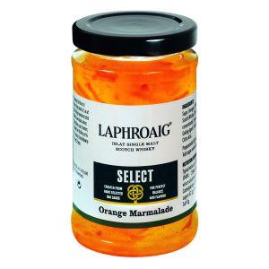 Orangen Marmelade mit fein und grob geschnittener Schale und Laphroaig Islay Single Malt Scotch Whisky.