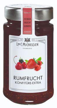 Aus erlesenen Erdbeern, Kirschen, Himbeeren, Brombeeren, rote Johannisbeeren mit Rum veredelt.