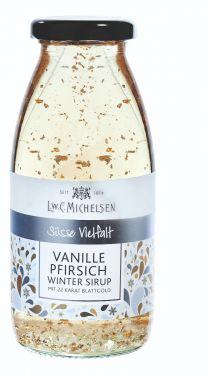 Vanille-, Pfirsichsirupzubereitung mit Blattgold