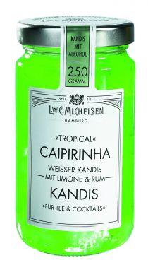 Kandiszucker in Caipirinhalikör-Zubereitung und westindischem Rum