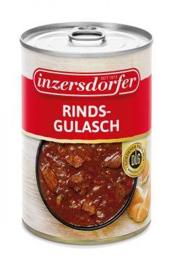 Gulasch aus saftigem Rindfleisch, Zwiebeln und Paprika in einer würzigen Sauce.