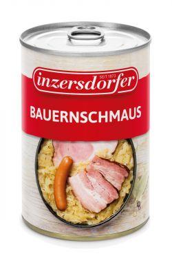 Ein deftiger Wirtshaus Klassiker. Geselchtes, Schinken und Frankfurter in fein gewürztem Sauerkraut.