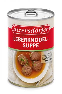 Köstliche Suppe mit 4 feinen Leberknödeln aus Rinderleber in einer klaren Suppe.