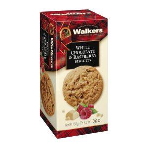 Köstliche knusprige Biscuits, gebacken mit weißen Schokoladenstückchen und Himbeeren.