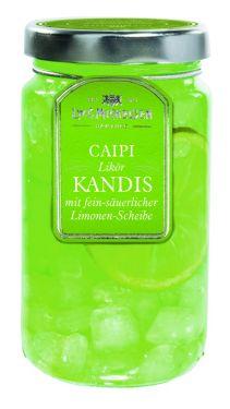 Weißer Kandis mit Rum, Limonen-Likör und Limonen-scheibe.