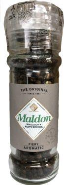 MALDON schwarze Pfefferkörner in der nachfüllbaren Mühle mit einstellbarenMahlgrad.