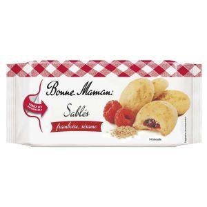 Kleine Cookies aus Mürbeteig mit fruchtiger Himbeerfüllung und Sesam.