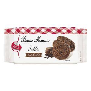 Kleine Schokoladencookies mit dunkler Schokolade und vielen Schokostückchen.